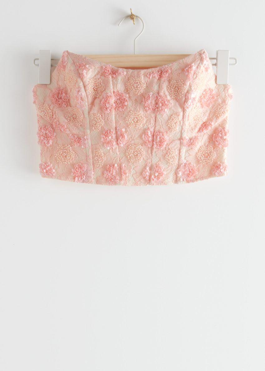 앤아더스토리즈 슬리브리스 레이스 뷔스티에의 핑크컬러 Product입니다.