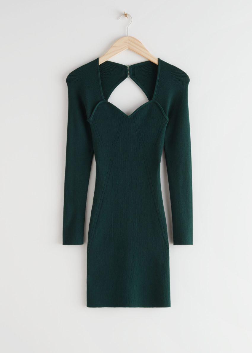 앤아더스토리즈 립 스위트하트 넥 뷔스티에 미니 드레스의 다크 그린컬러 Product입니다.