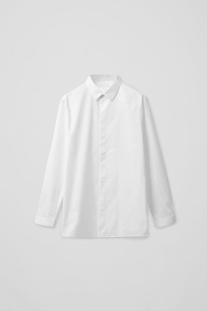 COS hover image 3 of 화이트 in 애시메트릭 플래킷 셔츠