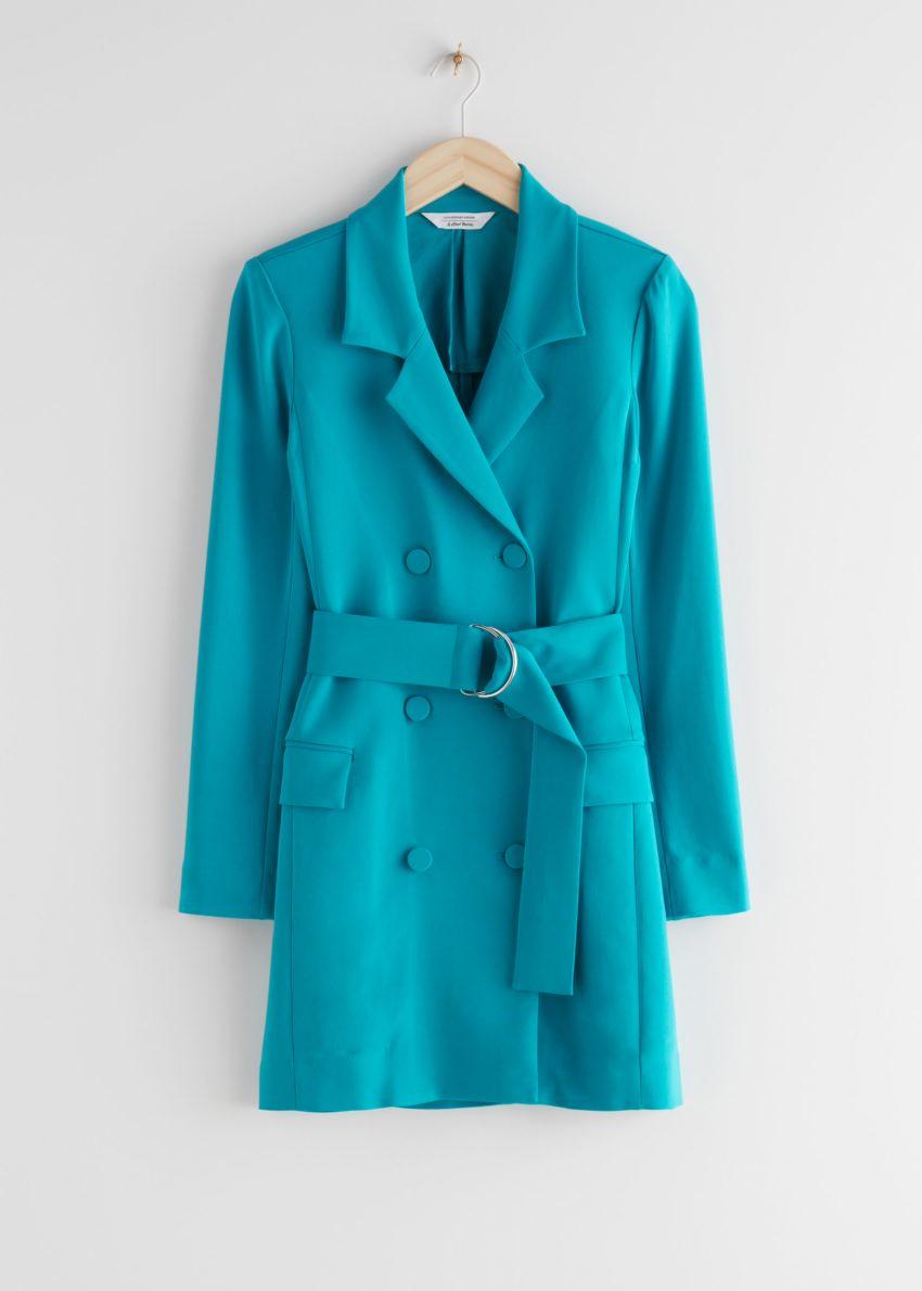 앤아더스토리즈 D링 벨티드 미니 블레이저 드레스의 터쿼이즈컬러 Product입니다.