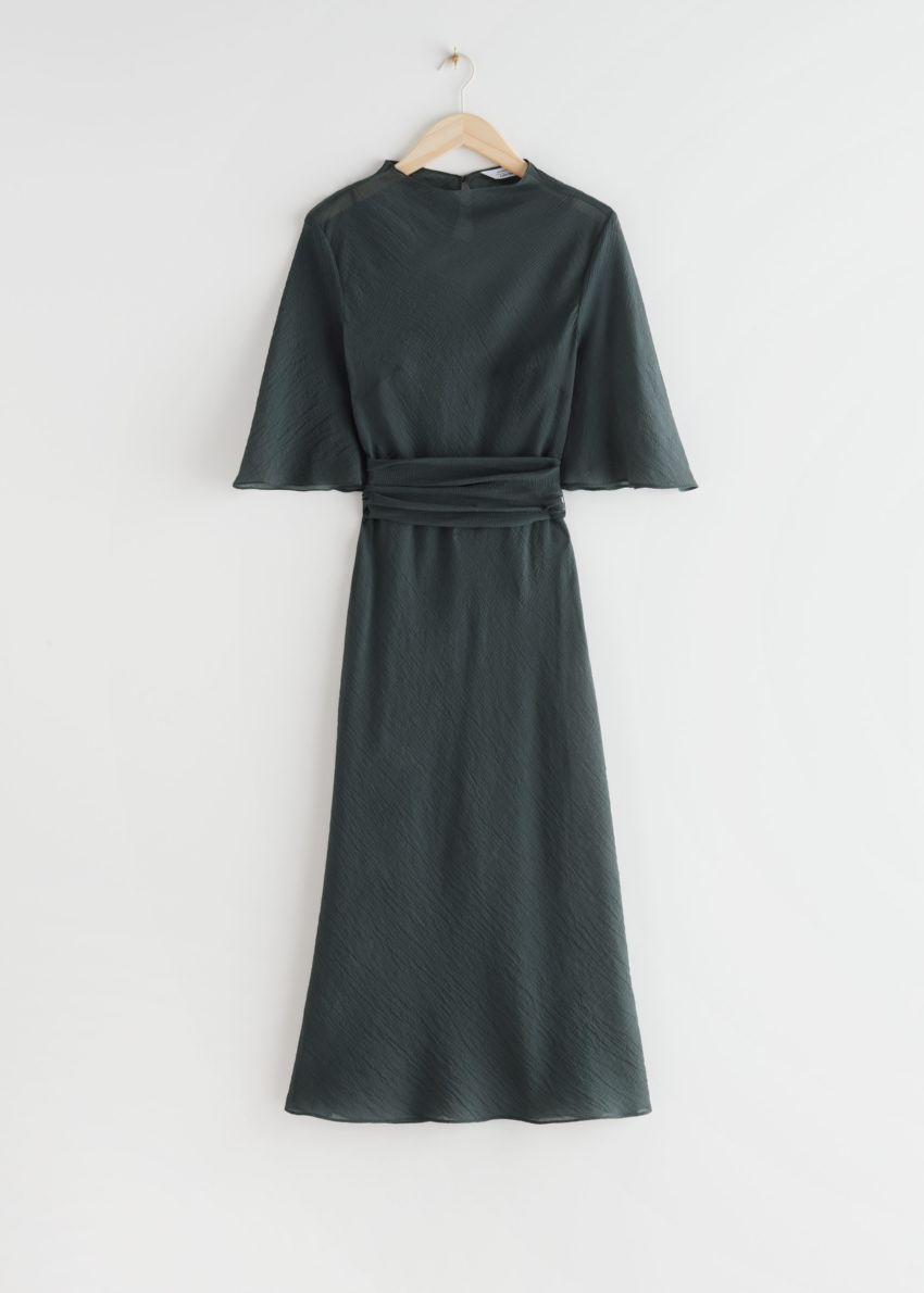 앤아더스토리즈 벨티드 미디 프린트 드레스의 다크 그레이컬러 Product입니다.