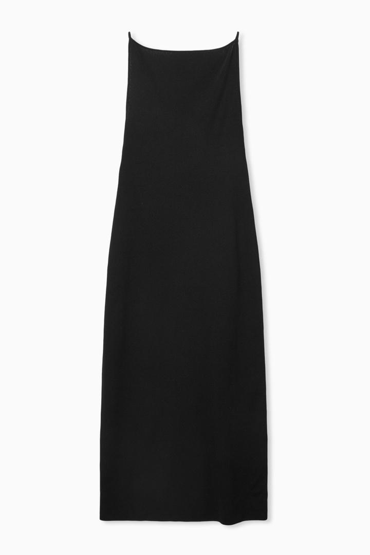 COS 백리스 니티드 슬립 드레스의 블랙컬러 Product입니다.