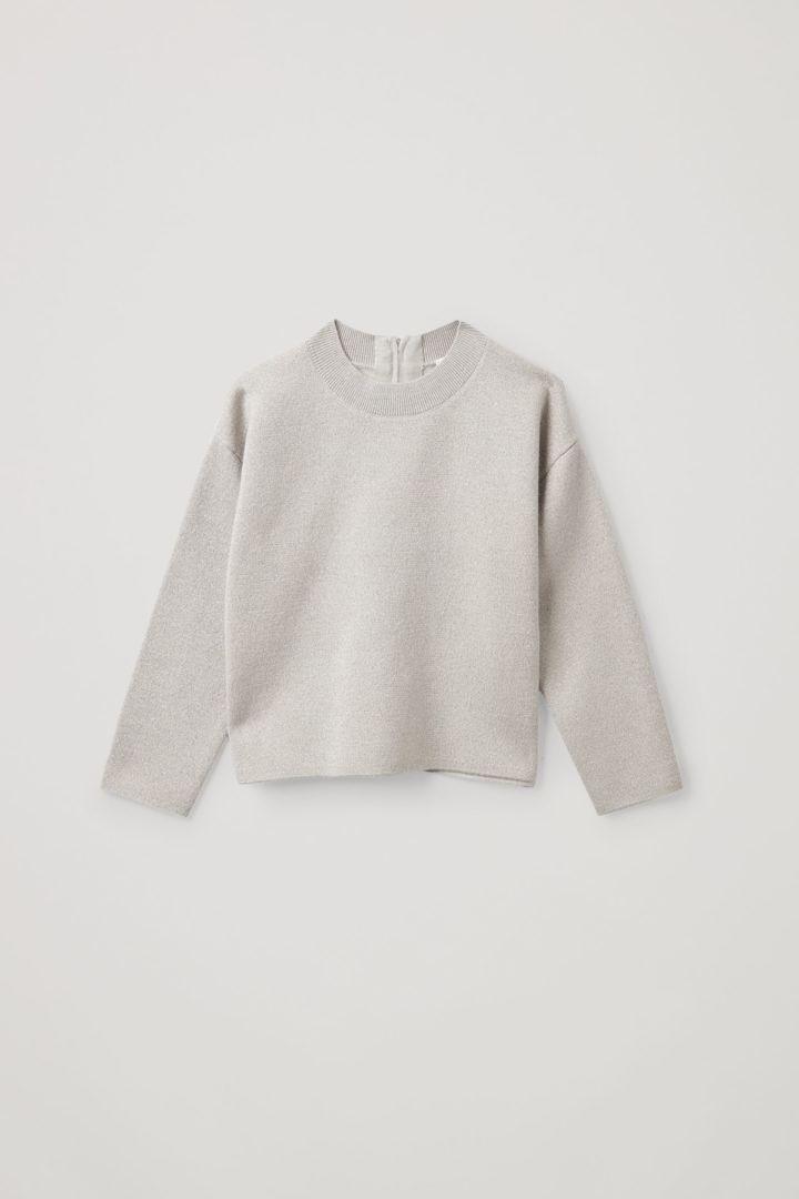 COS default image 8 of 브라운 in 메리노 울 오가닉 코튼 믹스 모크넥 집업 스웨터