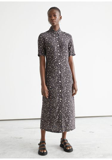 &OS image PRA default 8 of  in 어저스터블 웨이스트 미디 셔츠 드레스