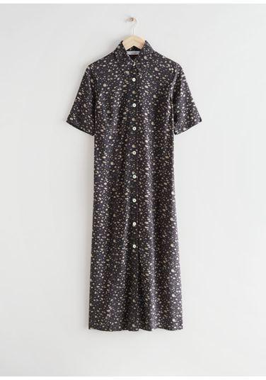&OS image Style With default 2 of 브라운 프린트 in 어저스터블 웨이스트 미디 셔츠 드레스