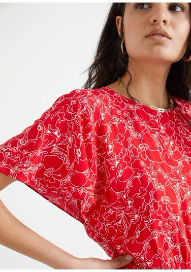 &OS image PRA default 8 of  in 배트윙 슬리브 러플 미니 드레스