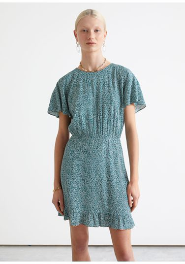 &OS image PRA default 2 of  in 배트윙 슬리브 러플 미니 드레스
