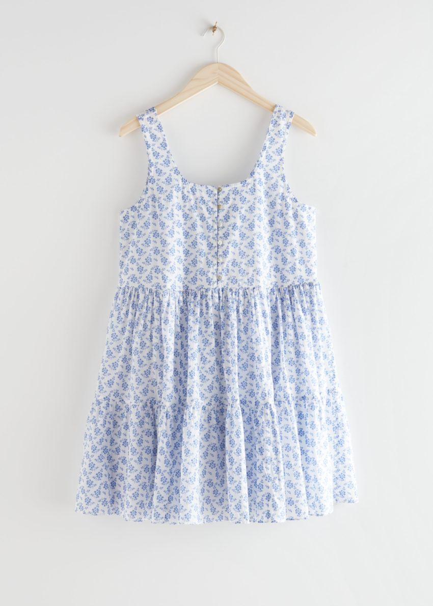 앤아더스토리즈 릴렉스드 개더드 미니 드레스의 블루 플로럴컬러 Product입니다.