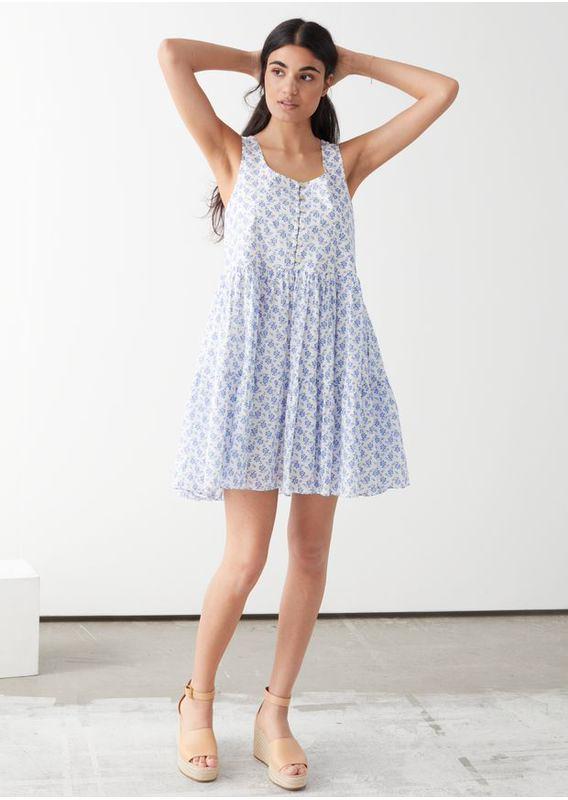 &OS image 2 of 블루 플로럴 in 릴렉스드 개더드 미니 드레스
