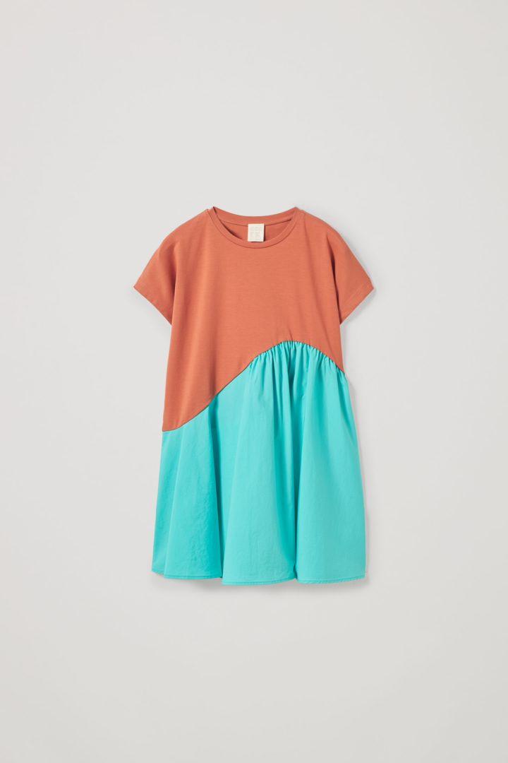 COS 오가닉 코튼 컨트래스트 패널 드레스의 오렌지 / 터쿼이즈컬러 Product입니다.