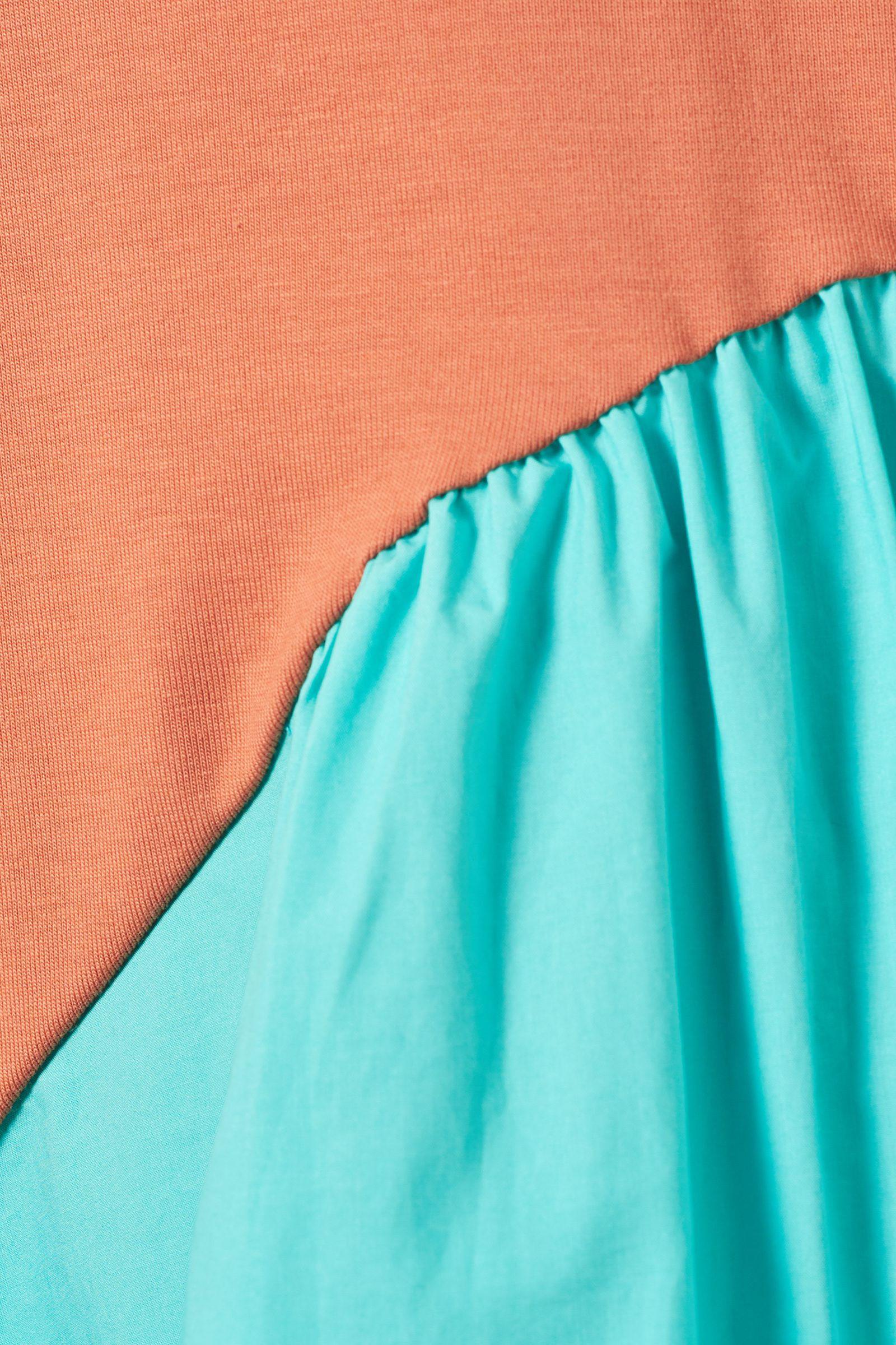COS 오가닉 코튼 컨트래스트 패널 드레스의 오렌지 / 터쿼이즈컬러 Detail입니다.