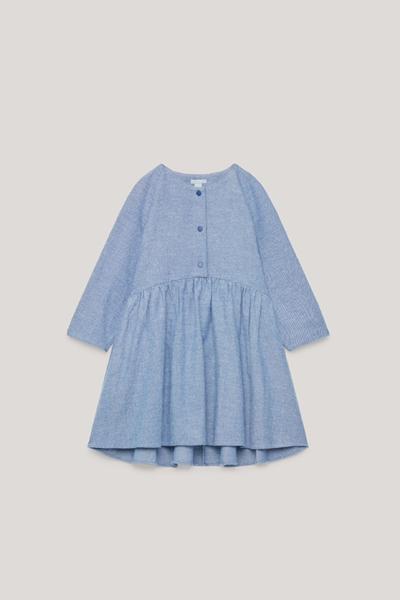 COS default image 10 of 블루 in 롱 슬리브 서클컷 드레스