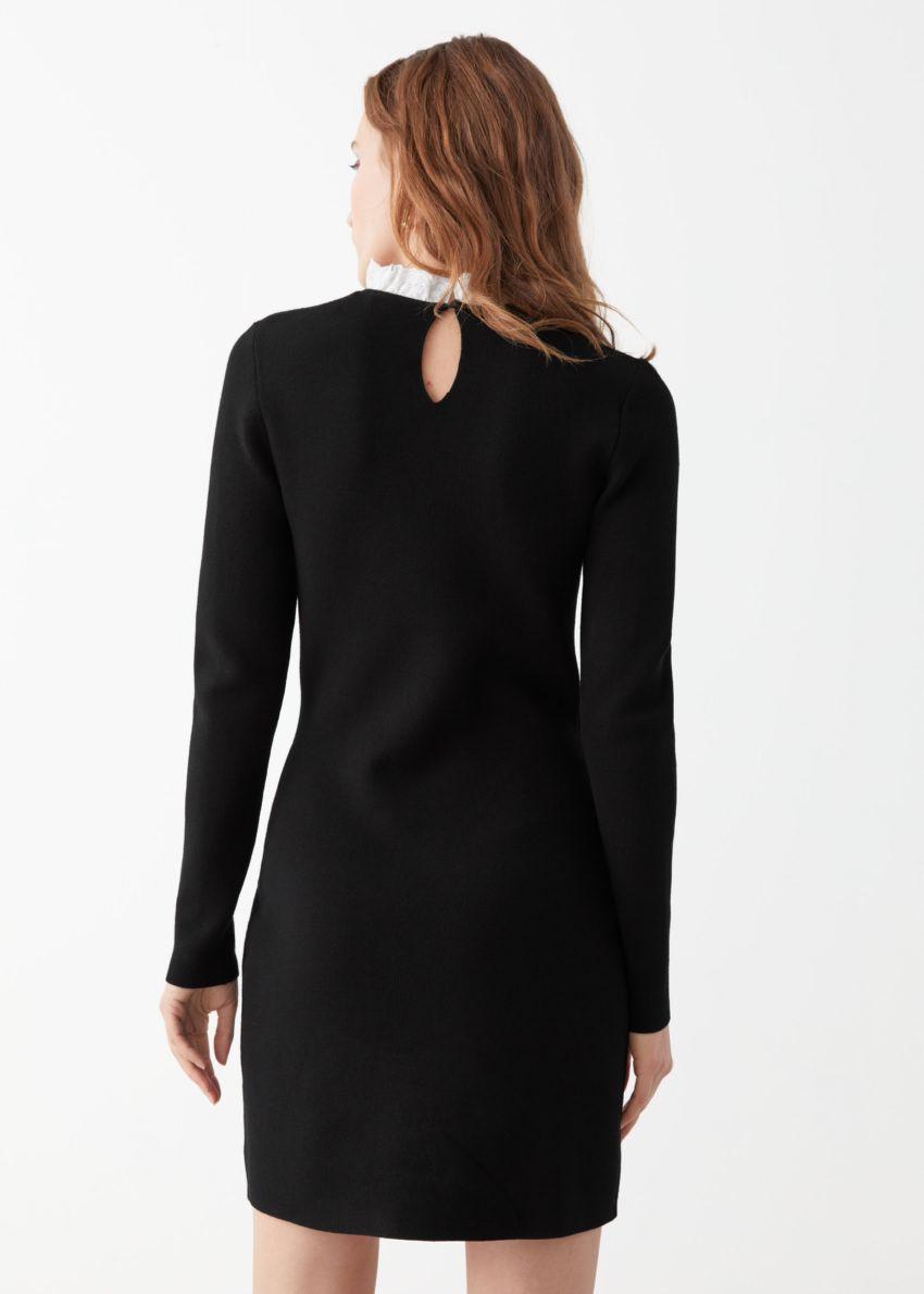 앤아더스토리즈 자카드 레이스 카라 미니 드레스의 블랙컬러 ECOMLook입니다.