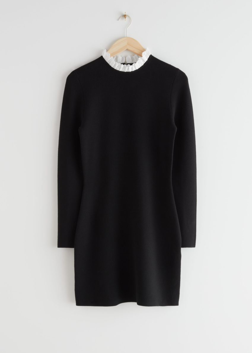 앤아더스토리즈 자카드 레이스 카라 미니 드레스의 블랙컬러 Product입니다.