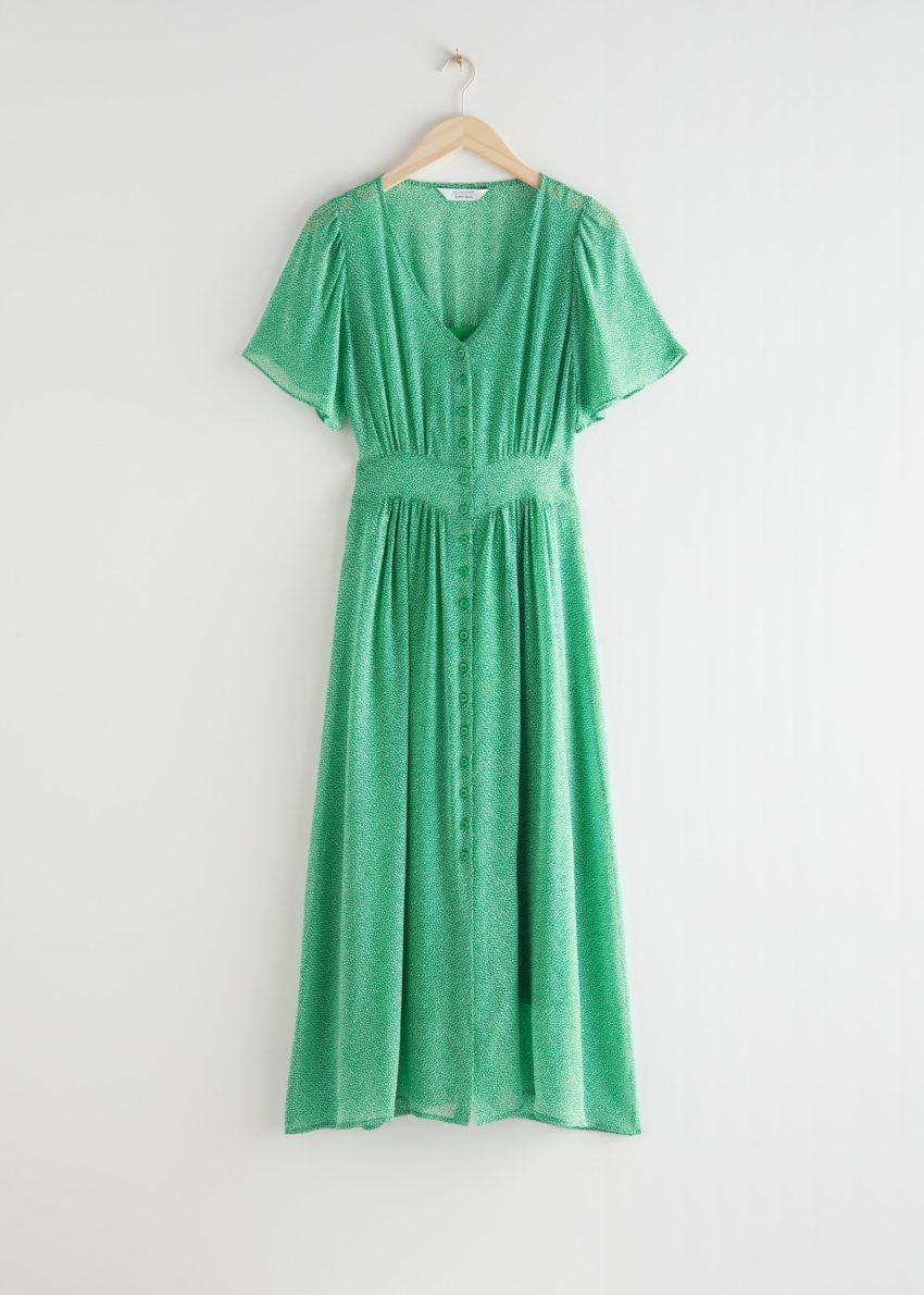 앤아더스토리즈 플로럴 프린트 미디 드레스의 그린 프린트컬러 Product입니다.
