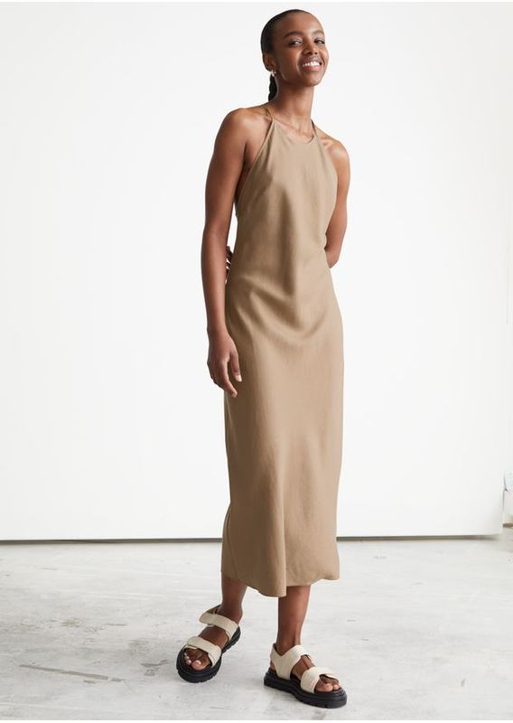&OS image 2 of 브라운 in 크리스 크로스 스트랩 미디 드레스