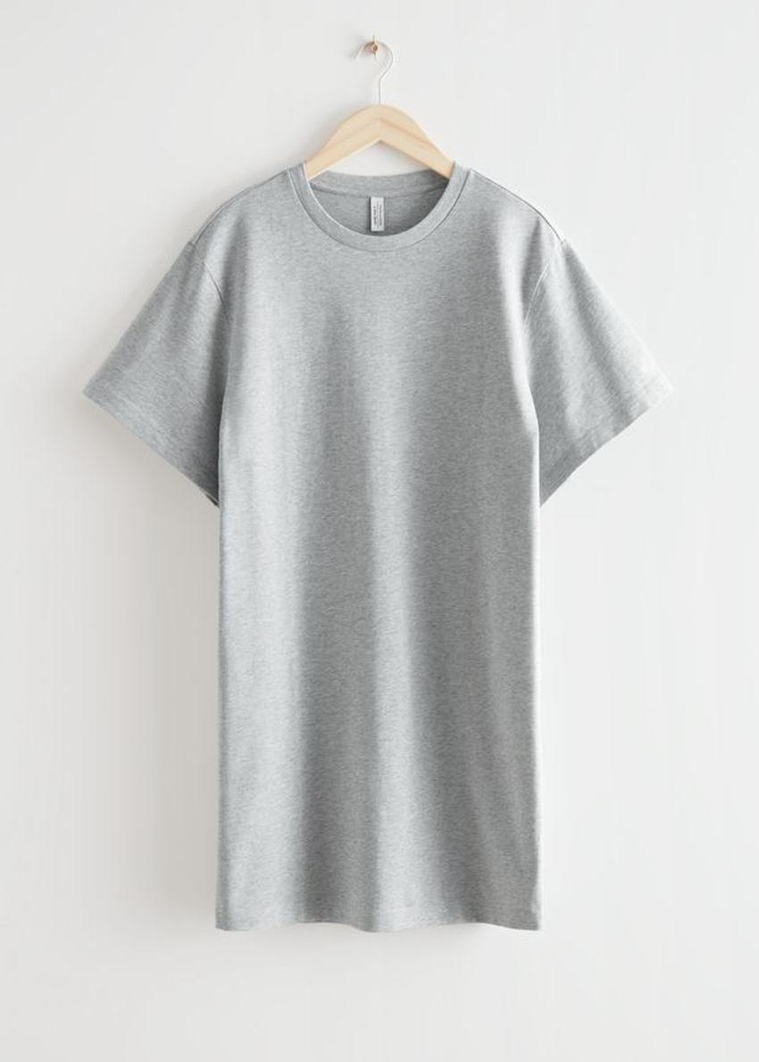 앤아더스토리즈 릴렉스드 티셔츠 미니 드레스의 그레이 멜란지컬러 Product입니다.