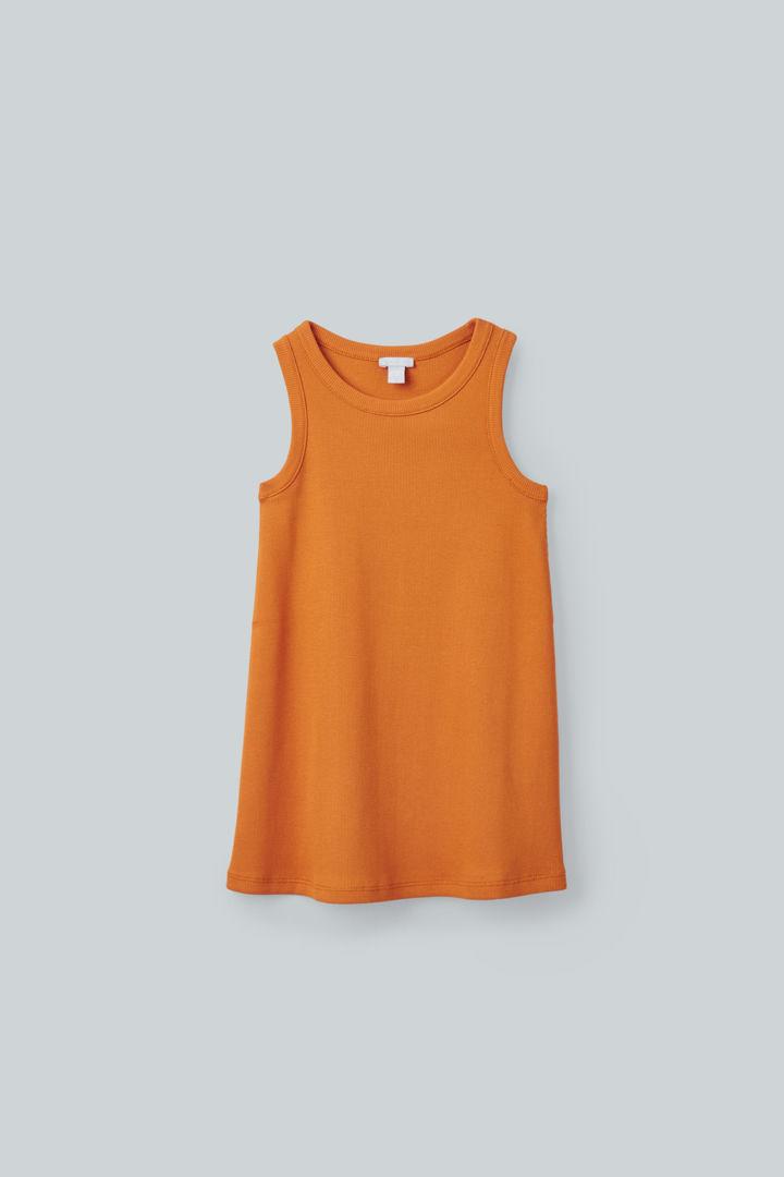 COS default image 4 of 옐로우 in 리브드 오가닉 코튼 베스트 드레스