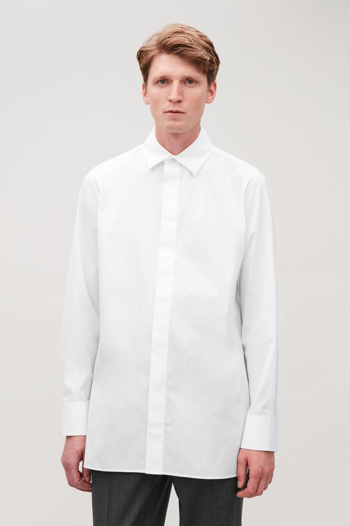 COS default image 8 of 화이트 in 맥 칼라 코튼 셔츠