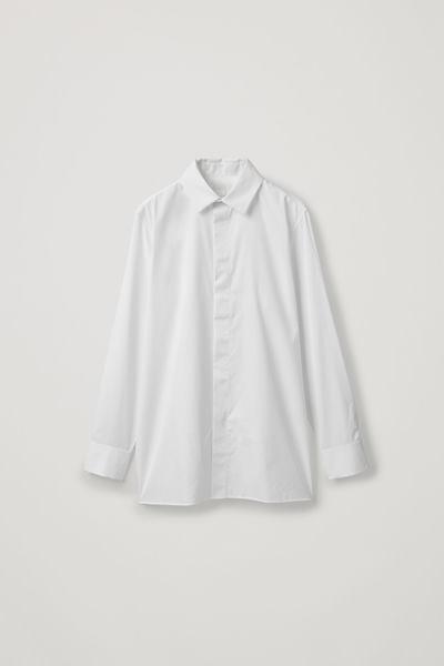 COS default image 10 of 화이트 in 맥 칼라 코튼 셔츠