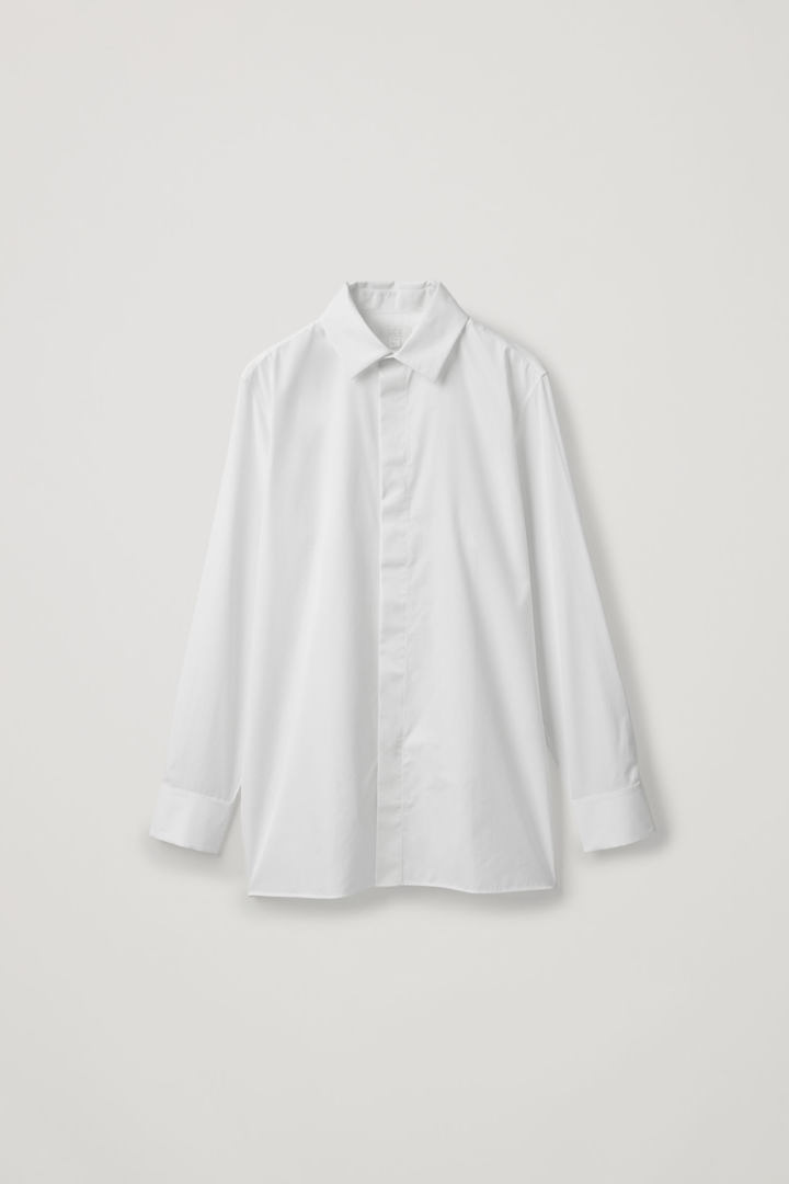 COS hover image 8 of 화이트 in 맥 칼라 코튼 셔츠