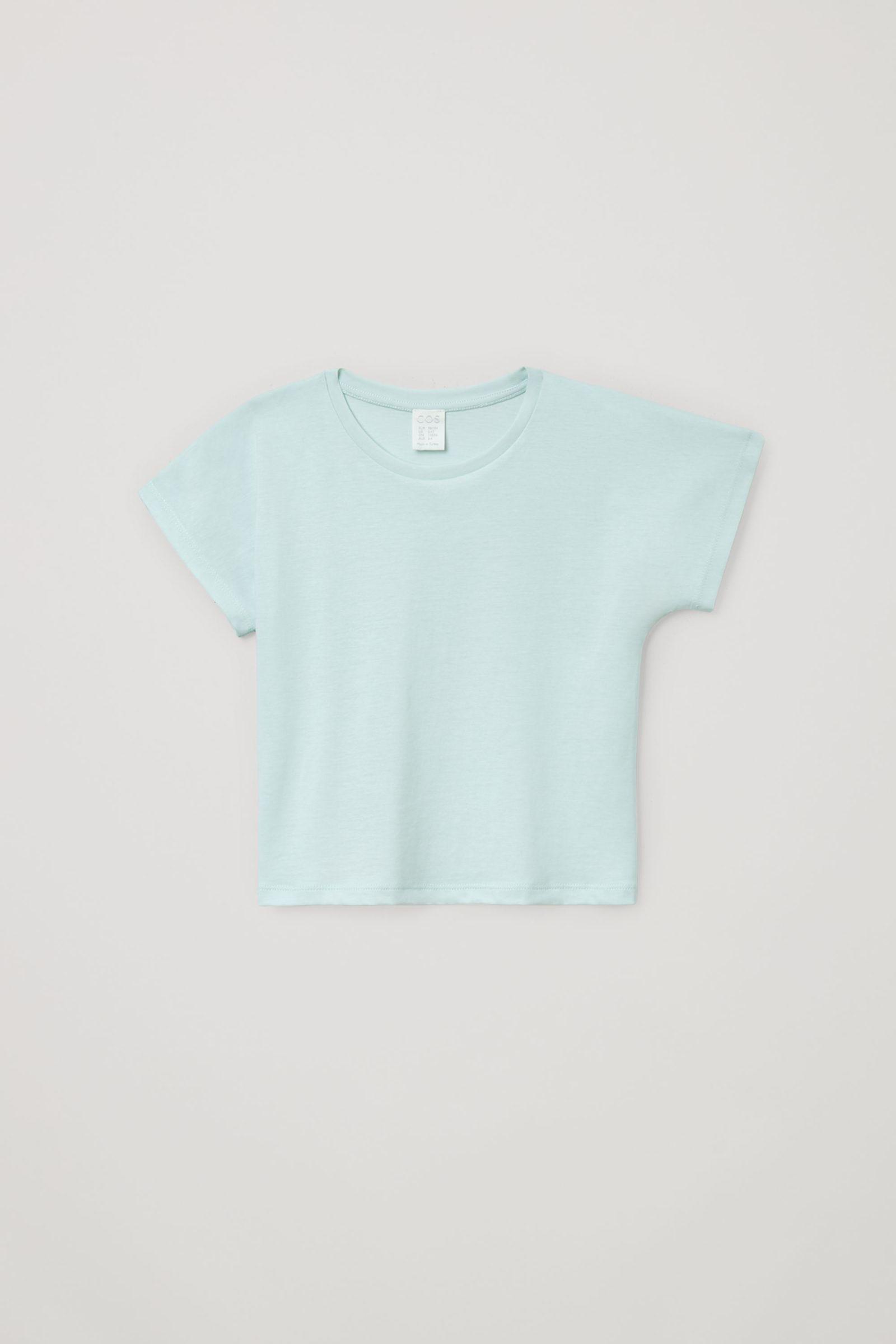 COS 오가닉 코튼 믹스 티셔츠의 터쿼이즈컬러 Product입니다.