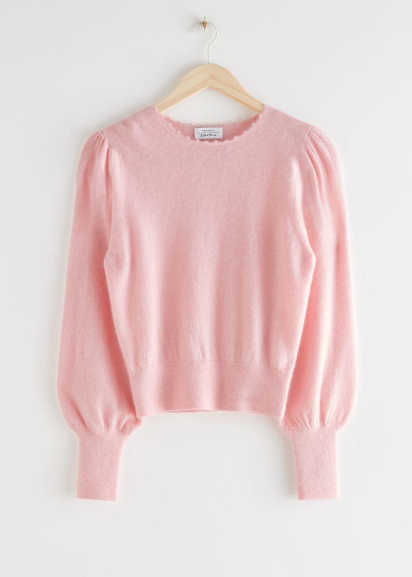 앤아더스토리즈 릴렉스드 알파카 블렌드 보블 넥 스웨터의 라이트 핑크컬러 Product입니다.