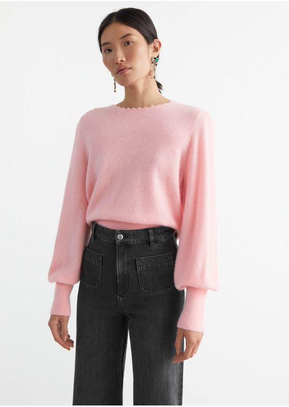 &OS image 21 of 핑크 in 릴렉스드 알파카 블렌드 보블 넥 스웨터
