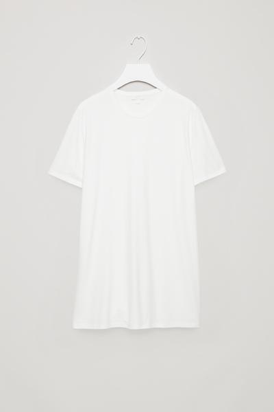 COS default image 3 of 화이트 in 롱 라운드 넥 티셔츠