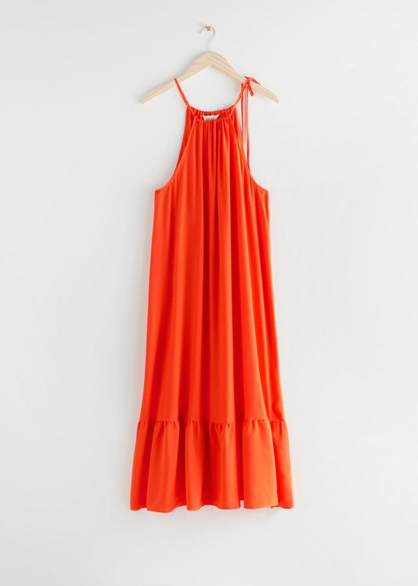 앤아더스토리즈 홀터넥 A라인 미디 드레스의 오렌지컬러 Product입니다.