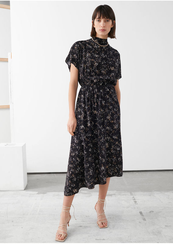 &OS image 15 of  in 에이시메트릭 새틴 미디 드레스
