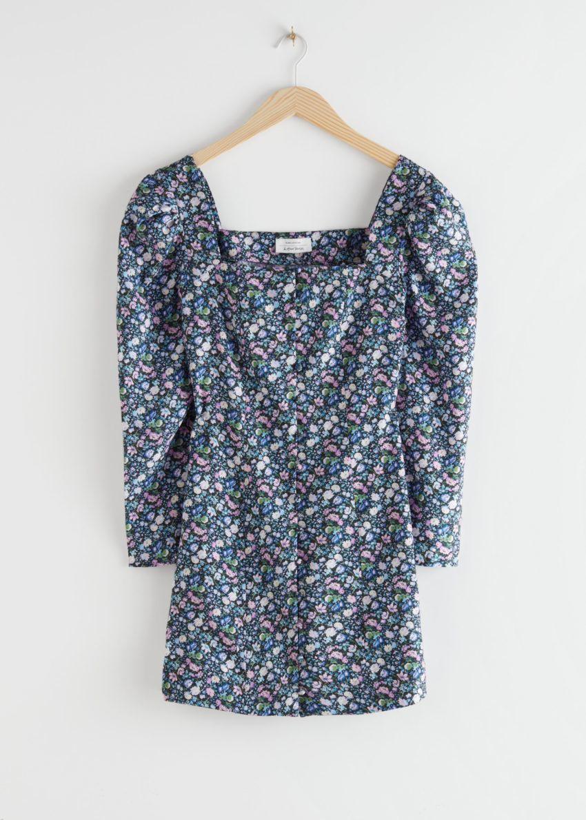 앤아더스토리즈 버튼 업 퍼프 슬리브 미니 드레스의 플로럴컬러 Product입니다.