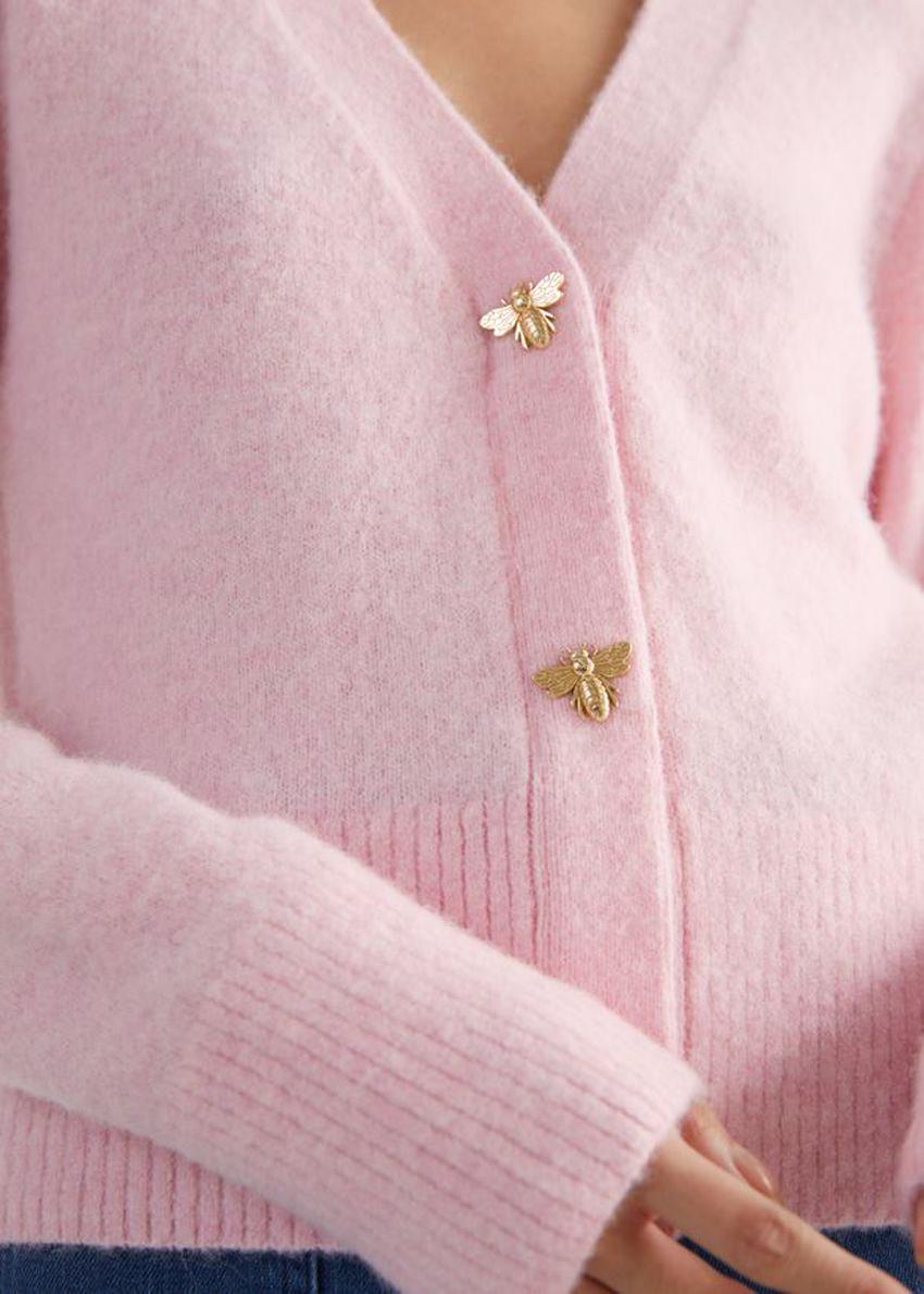 앤아더스토리즈 허니비 버튼 알파카 블렌드 가디건의 라이트 핑크컬러 Detail입니다.