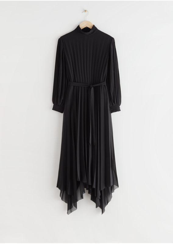 &OS image 27 of  in 벨티드 플리츠 에이시메트릭 미디 드레스