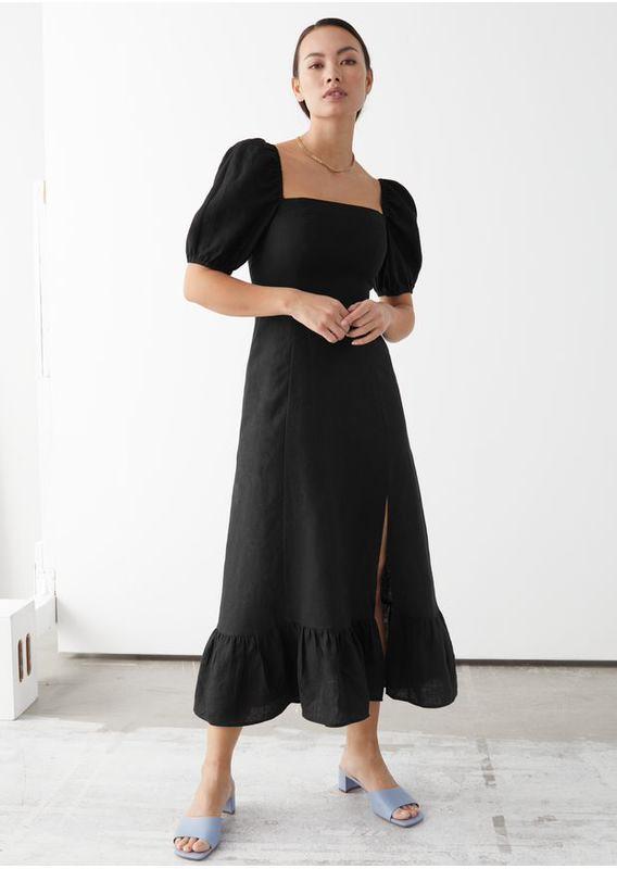 &OS image 15 of 블랙 in 리넨 퍼프 슬리브 미디 드레스
