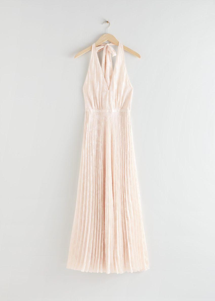 앤아더스토리즈 플리츠 홀터넥 맥시 드레스의 화이트컬러 Product입니다.
