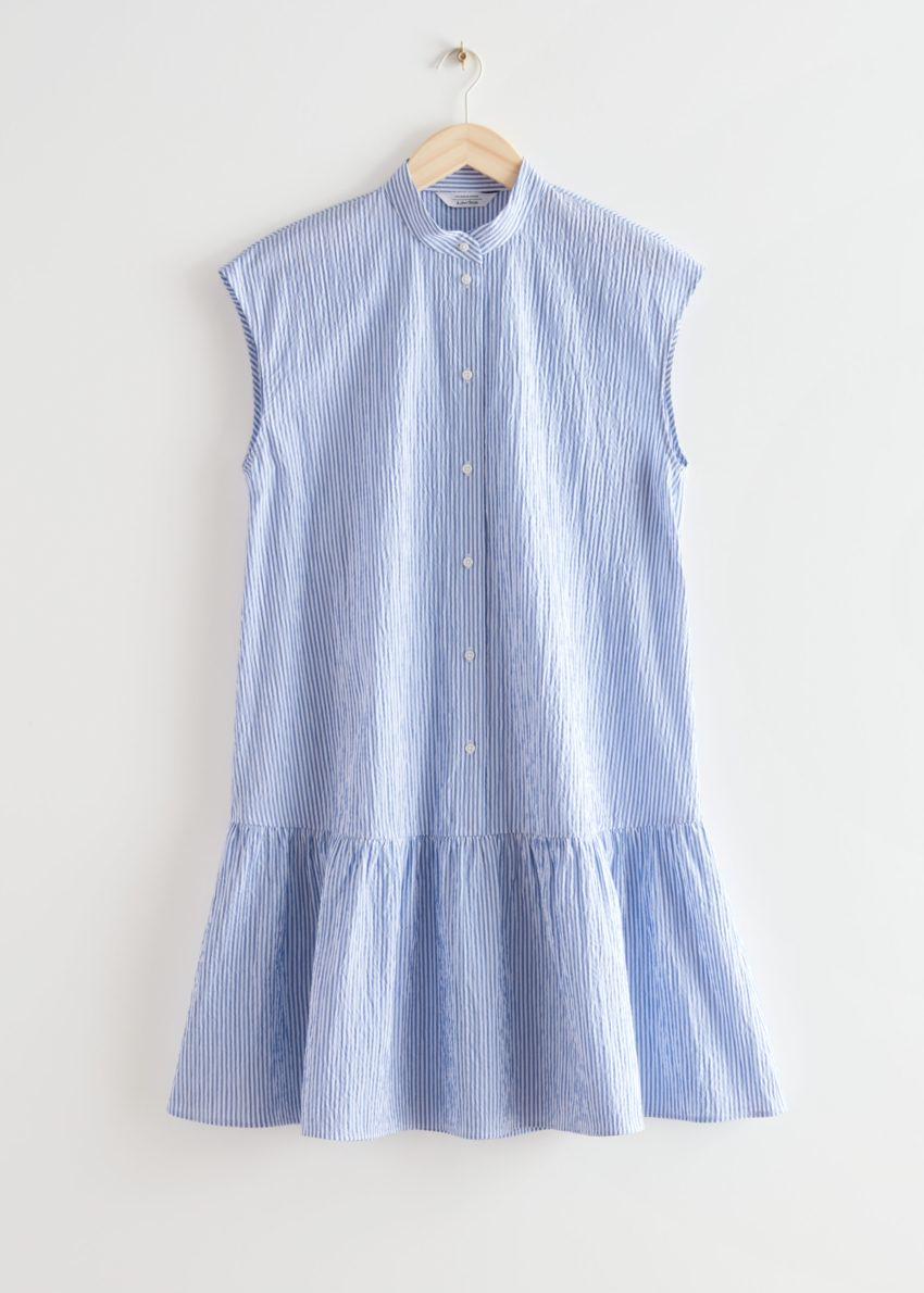 앤아더스토리즈 버튼 티어드 미디 드레스의 블루 스트라이프컬러 Product입니다.