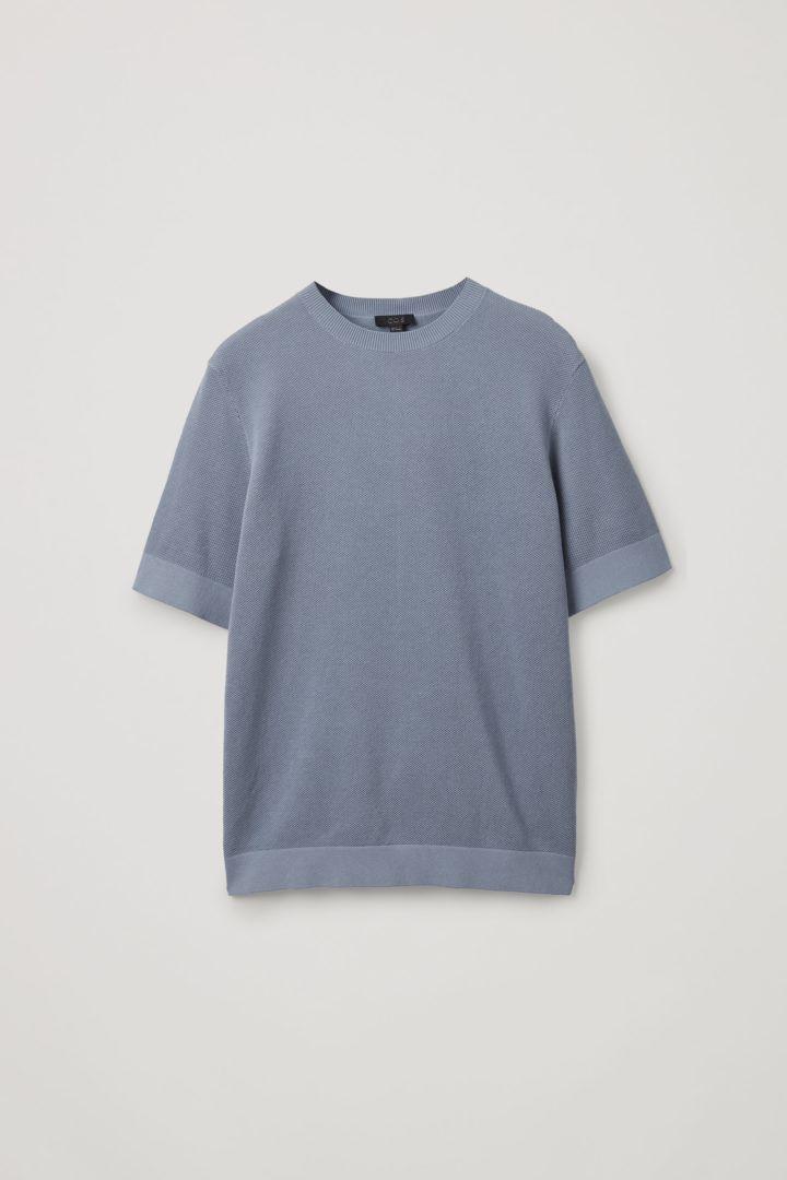COS hover image 8 of 블루 in 코튼 니트 티셔츠