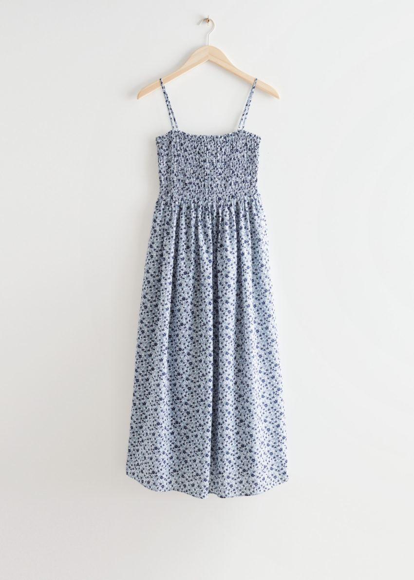 앤아더스토리즈 스모크 미디 드레스의 블루 프린트컬러 Product입니다.