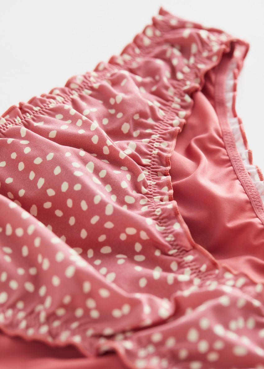 앤아더스토리즈 러플 트림 비키니 브리프의 핑크 도트컬러 Detail입니다.