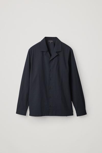 COS default image 8 of 블루 in 캠프 칼라 코튼 셔츠