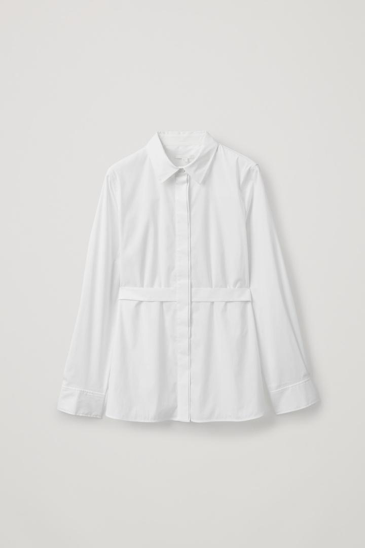 COS 스트라이프 코튼 셔츠의 화이트컬러 Product입니다.