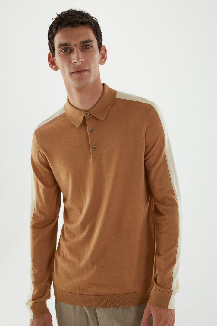 COS default image 3 of 베이지 in 롱 슬리브 메리노 폴로 셔츠