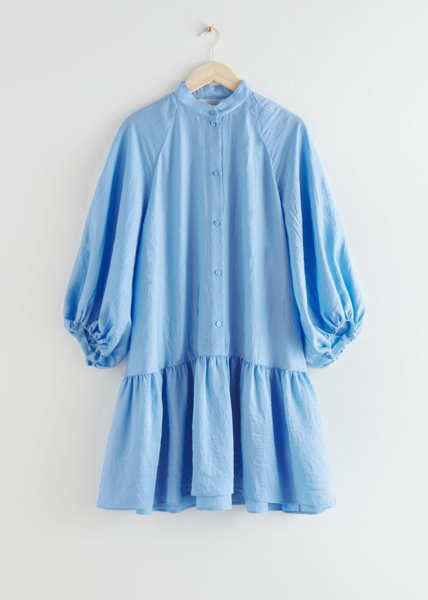 앤아더스토리즈 볼류미너스 퍼프 슬리브 미니 드레스의 라이트 블루컬러 Product입니다.