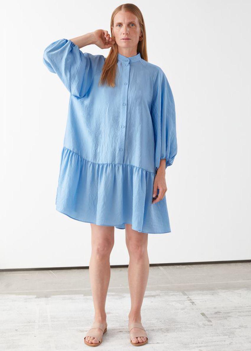 앤아더스토리즈 볼류미너스 퍼프 슬리브 미니 드레스의 라이트 블루컬러 ECOMLook입니다.