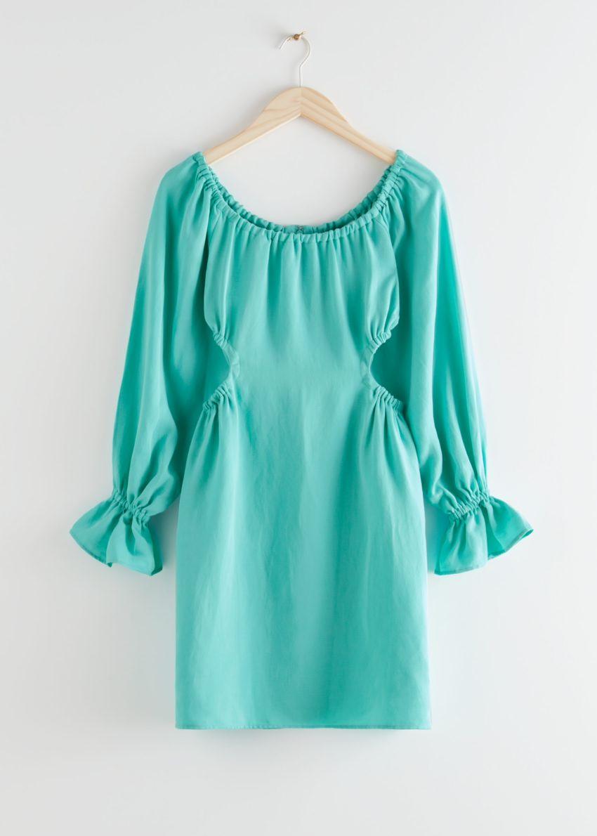 앤아더스토리즈 오프 숄더 컷 아웃 미니 드레스의 터쿼이즈컬러 Product입니다.
