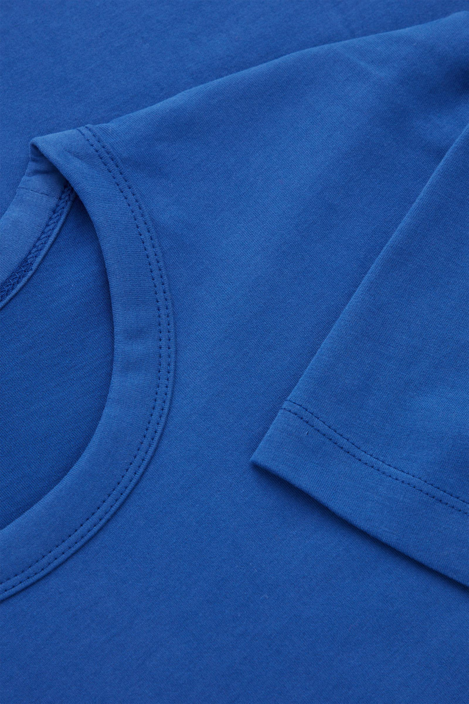 COS 브러쉬드 코튼 티셔츠의 블루컬러 Detail입니다.