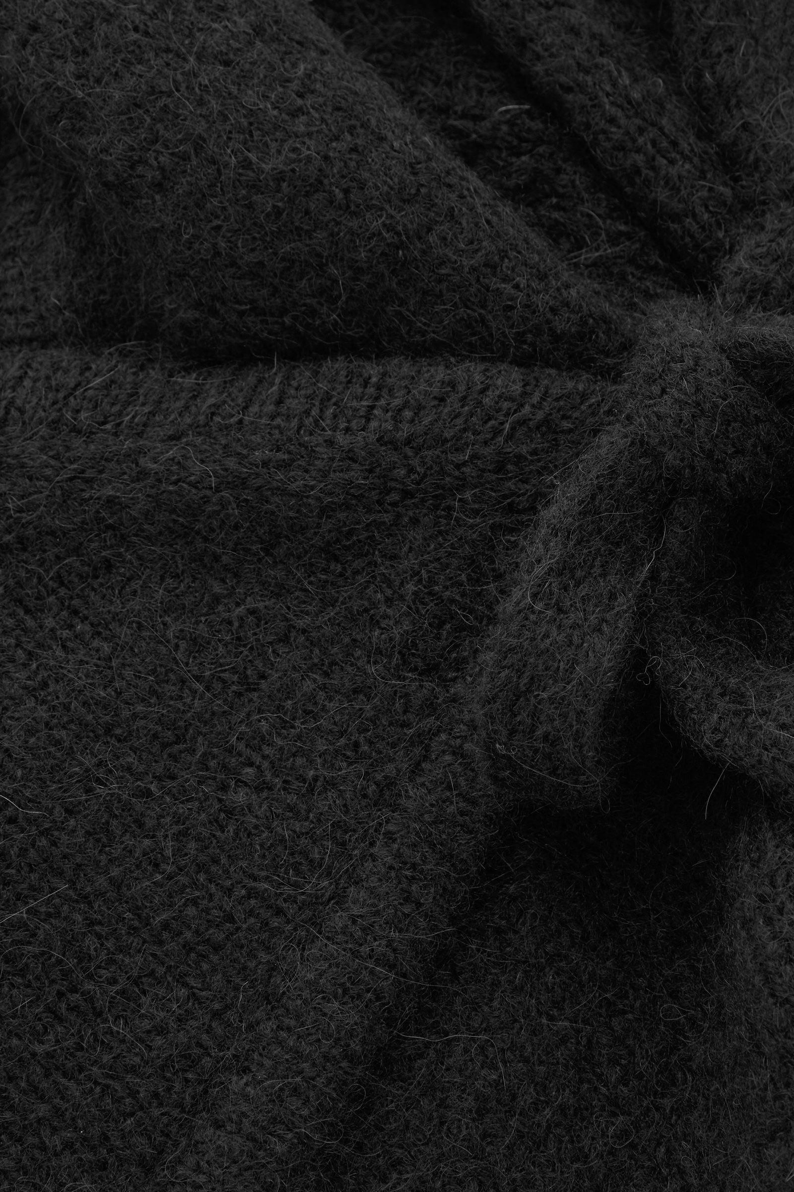 COS 울 알파카 랩 가디건의 네이비컬러 Detail입니다.