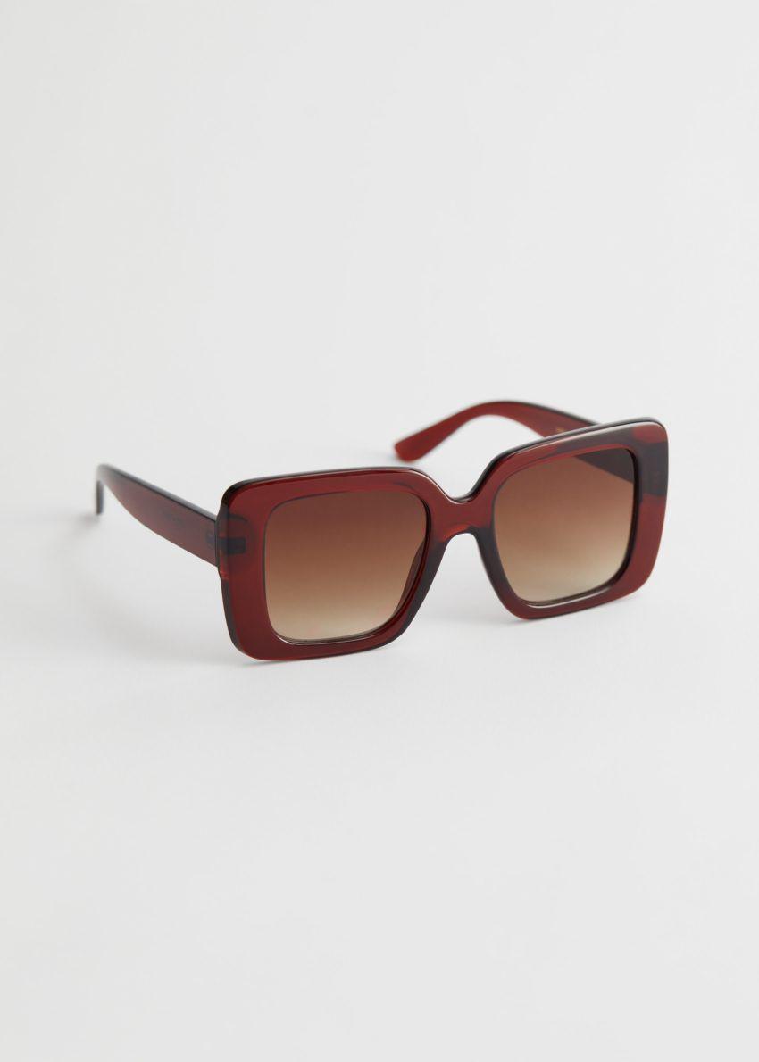 앤아더스토리즈 스퀘어 프레임 오버사이즈 선글라스의 베이지컬러 Product입니다.