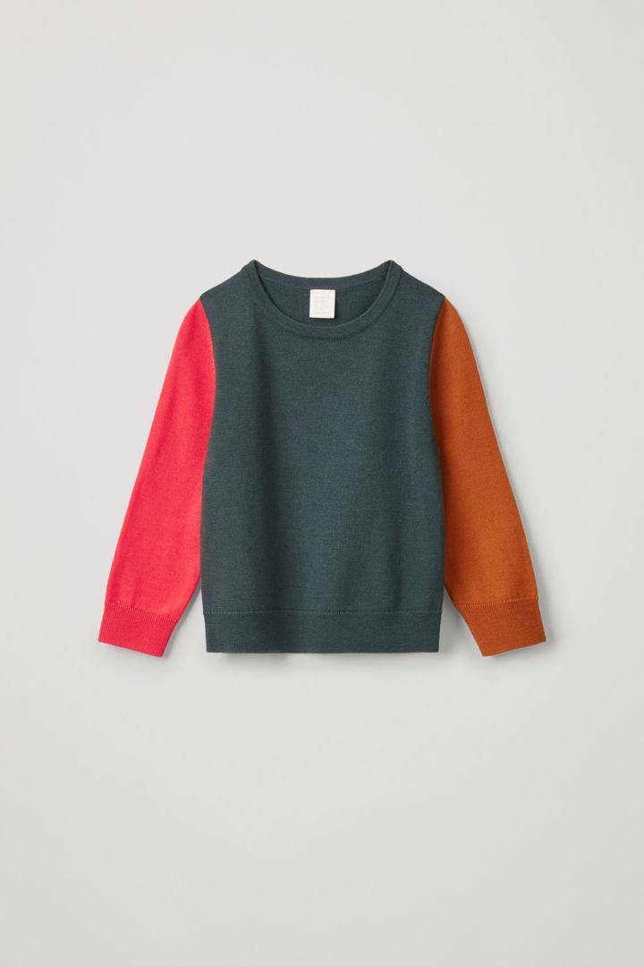 COS default image 3 of 그린 in 컬러 블록 메리노 스웨터